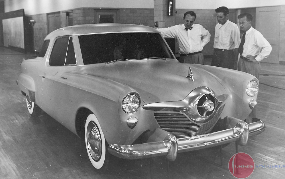 "Studebaker Model ""N"" full size clay model. This design was considered for the 1952 model year.  L-R: Robert Bourke, Don Bruce, Holden ""Bob"" Koto."