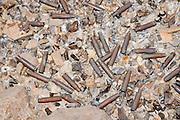 Israel, Aravaa pile of spent cartridges on the ground