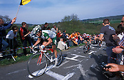 Unidentified Credit Agricole rider on La Redoute during the 2004 Liege Bastogne Liege race.