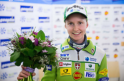 Katja Pozun after 2nd place at World Cup in Oslo during press conference of Slovenian Nordic Ski Jumping team on March 11, 2014 in Geoplin, Ljubljana, Slovenia. Photo by Vid Ponikvar / Sportida