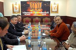 NEW DELHI, INDIA - NOV-04-2006 - Karel De Gucht, Belgian Minister of Foreign Affairs meets with Ashok Marg , Leader of the BJP opposition party in New Delhi.