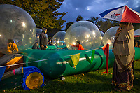 Pleasanton, California | 2014<br /> Kids play in bubble riders as part of the Diwali festivities at the Alameda County Fairgrounds.