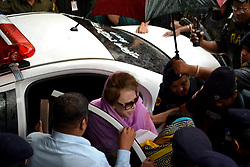 October 4, 2018 - Dhaka, Bangladesh - Bangladesh main opposition leader and Bangladesh Nationalist Party chairperson Khaleda Zia (C) looks on as she is escorted to Bangabandhu Sheikh Mujib Medical University (BSMMU) in Dhaka, on October 6, 2018. - Jailed Bangladesh opposition leader Khaleda Zia was admitted to hospital in Dhaka on October 6, an official said, following a court order in response to her deteriorating health. (Credit Image: © Str/NurPhoto/ZUMA Press)