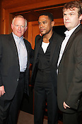l to r: Steve Barnett, Maxwell and Rob Stringer at his Press conference announcing his first new album in eight years, ' BLACKsummers'night,'  held at The Sony Club on April 28, 2009 in New York City