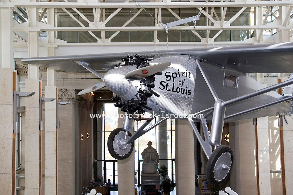 Replica of the Spirit of St. Louis first trans-Atlantic flight by Charles Lindberg. At the  Missouri historical society museum in Forest Park. St. Louis, Missouri MO USA, The original Spirit of St. Louis is currently on display at the National Air and Space Museum in Washington, DC