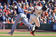 San Diego Padres first baseman Wil Myers (4) tags out San Francisco Giants center fielder Denard Span (2) during a second base stealing attempt at AT&T Park in San Francisco, Calif., on September 14, 2016. (Stan Olszewski/Special to S.F. Examiner)