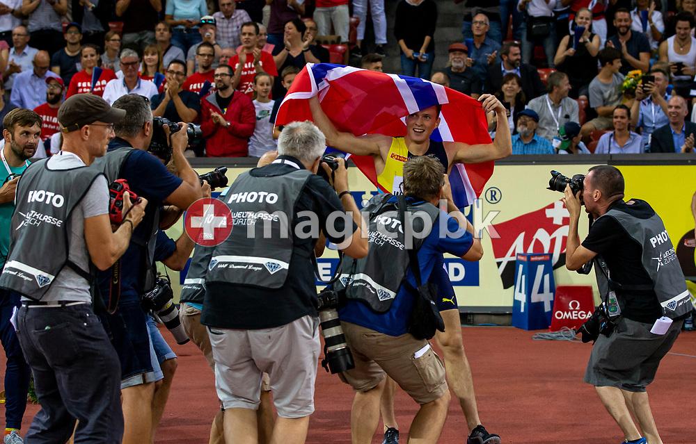 Karsten WARHOLM of Norway reacts after winning in the Men's 400m Hurdles during the Iaaf Diamond League meeting (Weltklasse Zuerich) at the Letzigrund Stadium in Zurich, Switzerland, Thursday, Aug. 29, 2019. (Photo by Patrick B. Kraemer / MAGICPBK)