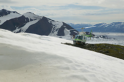 Helicopter With Glacier & Mountains