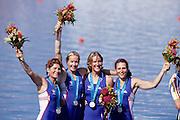 Sydney, AUSTRALIA, GBR W4X  Bronze Medallist on the awards dock, at the 2000 Olympic Regatta, Penrith Lakes. [Photo Peter Spurrier/Intersport Images]  [right to left] BATTEN Guin, LINDSAY Gillian Anne, GRAINGER Katherine, BATTEN Miriam. 2000 Olympic Rowing Regatta00085138.tif