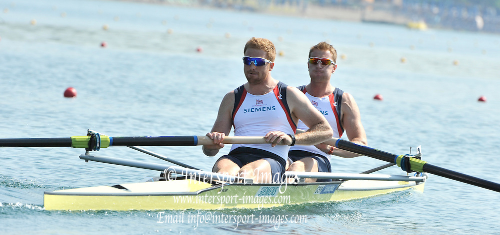 Belgrade, SERBIA. 2012 FISA World Cup I GBR M2-. Bow, George NASH and Will SATCH. Friday  04/05/2012 [Mandatory Credit. Peter Spurrier/Intersport Images]