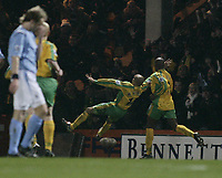 Photo. Digitalsport<br /> Norwich City v Manchester City. 28/02/05.<br /> Barclays Premiership.<br /> Leon Mckenzie celebrates