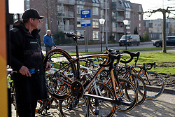 Boels Dolmans team mechanic, Richie Steege busy before the start at Ronde van Drenthe 2017. A 152 km road race on March 11th 2017, starting and finishing in Hoogeveen, Netherlands. (Photo by Sean Robinson/Velofocus)