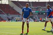 Middlesbrough defender Nathan Wood (25)  warming up during the EFL Sky Bet Championship match between Middlesbrough and Stoke City at the Riverside Stadium, Middlesbrough, England on 19 April 2019.