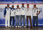 Marathon, GREECE, Men's lightweight double sculls presentation  for the 2008  FISA European Rowing Championships, at the Club Med. 20/09/2008  [Mandatory Credit Peter Spurrier/ Intersport Images] , Rowing Course; Lake Schinias Olympic Rowing Course. GREECE