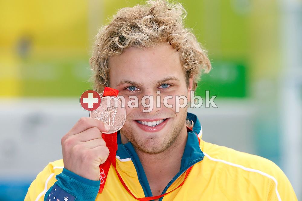Andrew LAUTERSTEIN of Australia poses with his bronze medal after finishing third in the the Men's 100m Butterfly Final held at the National Aquatics Center at the Beijing 2008 Olympic Games in Beijing, China, Saturday, Aug. 16, 2008. (Photo by Patrick B. Kraemer / MAGICPBK)