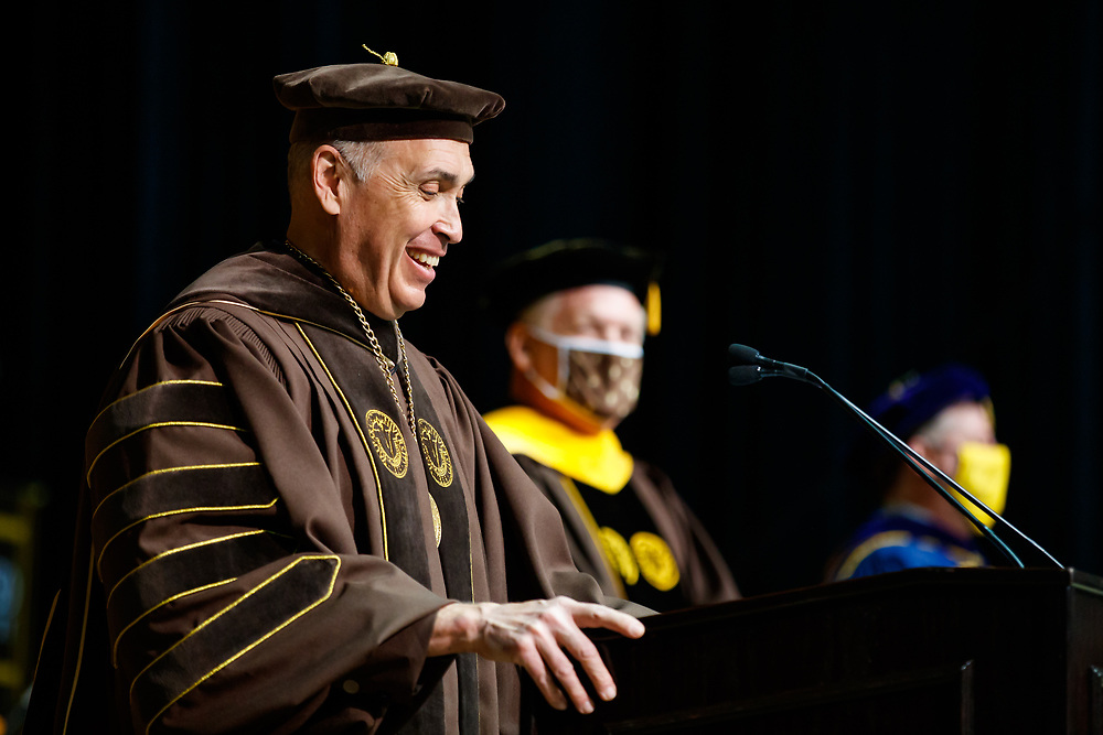 Commencement ceremonies for the College of Arts and Sciences at Valparaiso University in Valparaiso, Ind., Sunday, May 16, 2021. Photo by Guy Rhodes