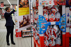 French President Emmanuel Macron waves as he visits a Super U supermarket about the partnership with local producers in Saint-Pol-de-Leon during a day trip centered on agriculture amid the coronavirus disease (COVID-19) outbreak in Brittany, France, April 22, 2020. Photo by Stephane Mahe/Pool/ABACAPRESS.COM