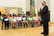 Milpitas Mayor Jose Esteves gives the fourth through sixth grade competitors a pep-talk before the 2016 Milpitas Youth Spelling Bee at the Milpitas Senior Center in Milpitas, California, on January 22, 2016. (Stan Olszewski/SOSKIphoto)