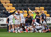 Rugby Union - 2019 / 2020 Gallagher Premiership - Worcester Warriors vs Bristol Bears<br /> <br /> Bristol Bears' Jake Woolmore celebrates his sides second try scored by Bryan Byrne, at Sixways.<br /> <br /> COLORSPORT/ASHLEY WESTERN