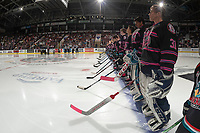 KELOWNA, BC - SEPTEMBER 21:  The Kelowna Rockets line up on the blue line for home opener against the Spokane Chiefs at Prospera Place on September 21, 2019 in Kelowna, Canada. (Photo by Marissa Baecker/Shoot the Breeze)
