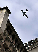 CENTRAL LONDON. A Sptifire aircraft flies above The Royal Courts of Justice on 07 SEPT 2010. STEPHEN SIMPSON ..