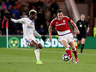 Didier Ndong of Sunderland in action with Stewart Downing of Middlesbrough during the English Premier League match at Riverside Stadium, Middlesbrough. Picture date: April 26th, 2017. Pic credit should read: Jamie Tyerman/Sportimage