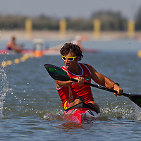 Pablo Andres from Spain paddles his boat in the K1 men Kayak 4x200m relay final of the 2011 ICF World Canoe Sprint Championships held in Szeged, Hungary on August 21, 2011. ATTILA VOLGYI