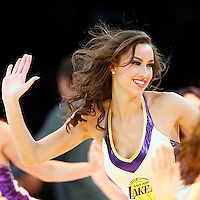 07 December 2014: Lakers Girl Shelbie performs during the New Orleans Pelicans 104-87 victory over the Los Angeles Lakers, at the Staples Center, Los Angeles, California, USA.