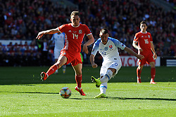 March 24, 2019 - Cardiff, United Kingdom - Connor Roberts, Robert Mak during the UEFA European Championship Group E Qualifying match between Wales and Slovakia at the Cardiff City Stadium, Cardiff on Sunday 24th March 2019. (Credit Image: © Mi News/NurPhoto via ZUMA Press)