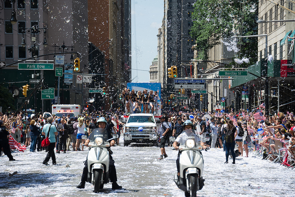 The 2016 Women's World Cup parade in the Canyon of Heroes in New York City.