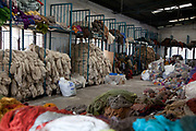 Wool at the ware house.  Amity Factory does not employ children and is a licensee of the GoodWeave Foundation and their carpets carry the GWF label.The weavers work according to the design,printed on paper hanging above them. Most are women and many mothers and they work inthe factory 12-14 hours /day 6 days/week. The Good Weave Foundation is a charity set up in partnership with the Nepalese carpet industry. The aim is to eliminate child labor in all carpet factories in Nepal. Factories which do not employ children can sign up with the charity and become a licensee to the GWF brand and label their carpets with the GWF label which promises any buyers abroad that no children were involved in making the carpets.