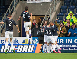 Falkirk's Conor McGrandles celebrates after scoring their first goal.<br /> Falkirk 2 v 0 Dundee, Scottish Championship game at The Falkirk Stadium.<br /> © Michael Schofield.