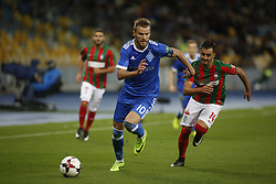 August 24, 2017 - Andriy Yarmolenko (L) of Dynamo vies for the ball with Luís Martins (R)  of Maritimo  during the Europa League second play-off soccer match between FC Dynamo Kyiv and FC Maritimo, at the Olimpiyskyi stadium in Kyiv, Ukraine, August 24, 2017. (Credit Image: © Anatolii Stepanov via ZUMA Wire)