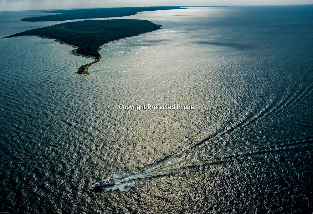 Aerial view of Straits of Mackinac,