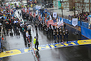 April 14, 2014 - Boston, Massachusetts, USA - <br /> <br /> Boston Marathon Bombing Anniversary<br /> <br /> Hundreds gather at the Boston Marathon finish line in Boston, Massachusetts to mark the one year anniversary of the Boston Marathon Bombing with a flag raising ceremony and moment of silence. United States Vice President Joe Biden attended the event.<br /> ©Exclusivepix