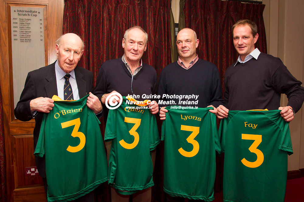 Four Kings book launch at Knightsbrook Hotel, Trim, 5th November 2013<br /> The 4 Kings pictured with their respective jerseys, L-R, Paddy `Hands` O`Brien, Jack Quinn, Mick Lyons & Darren Fay<br /> Photo: David Mullen / www.quirke.ie ©John Quirke Photography, Unit 17, Blackcastle Shopping Cte. Navan. Co. Meath. 046-9079044 / 087-2579454.