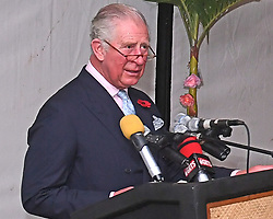 The Prince of Wales during a state dinner and reception at the Coco Ocean Hotel, on day two of their trip to west Africa.