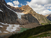 View of Angel Glacier on the side of Mount Edith Cavell and Cavell Tarn; Jasper National Park, Alberta, Canada