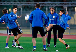 Branko Ilic (L), Andraz Kirm (R) of Slovenian National football team at practice a day before the last 2010 FIFA Qualifications match between San Marino and Slovenia, on October 13, 2009, in Olimpico Stadium, Serravalle, San Marino.  (Photo by Vid Ponikvar / Sportida)