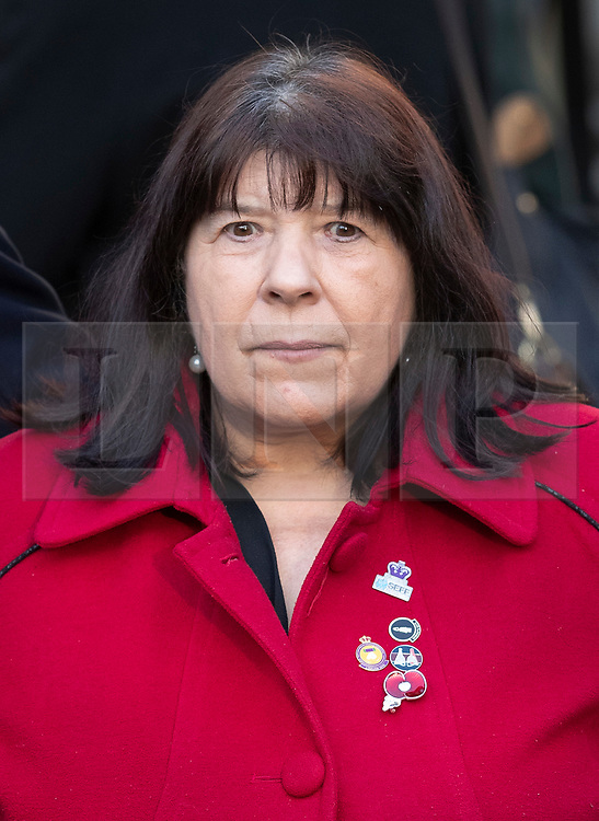 © Licensed to London News Pictures. 11/12/2019. London, UK. Judith Jenkins, widow of Jeffrey Young - who was killed in the Hyde Park bombing in 1982, arrives at The High Court where a civil case against convicted IRA member John Downey is going ahead. A previous criminal case against Downey at The Old Bailey collapsed in 2014 after it emerged he had received a so-called 'on the run' letter dating back to 2007 a part of the Good Friday Agreement peace deal. The Hyde Park bombing in July 1982 killed Squadron Quartermaster Corporal Roy Bright, Lieutenant Anthony Daly, Lance Corporal Jeffrey Young and Trooper Simon Tipper. Photo credit: Peter Macdiarmid/LNP