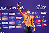 Podium, Men Sprint, Harrie Lavreysen (Netherlands) Bronze medal, during the Track Cycling European Championships Glasgow 2018, at Sir Chris Hoy Velodrome, in Glasgow, Great Britain, Day 5, on August 6, 2018 - Photo luca Bettini / BettiniPhoto / ProSportsImages / DPPI<br /> - Restriction / Netherlands out, Belgium out, Spain out, Italy out -