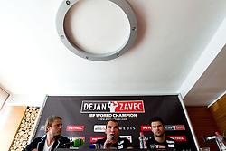 Jure Doler, Boxer Dejan Zavec alias Jan Zaveck alias Mr. Sympatikus and his fitness coach Tomi Jagarinec at press conference, on May 11, 2011 in Kavarna Sputnik, Ljubljana, Slovenia. (Photo By Vid Ponikvar / Sportida.com)