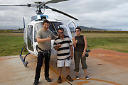 Kauai. Helicopter flight aboard an Island Helicopters Eurocopter AS350 Ecureuil (A-Star). Heimo Aga (l.), Nicole Schmidt and Ian, the pilot.