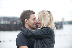 Young couple romantically embracing