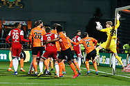 Barnet goalkeeper Will Huffer (39) fails to stop a corner ball during The FA Cup fourth round match between Barnet and Brentford at The Hive Stadium, London, England on 28 January 2019.