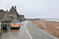 © Licensed to London News Pictures. 05/03/2017<br /> Police have sealed off the park from the Broadway and the seafront down to the sea.<br />  The body of a baby has been found on small piece of park land at the back of Sheerness Swimmimg Pool near the Broadway, Sheerness next to St Henry and St Elizabeth Church.<br /> Photo credit :Grant Falvey/LNP