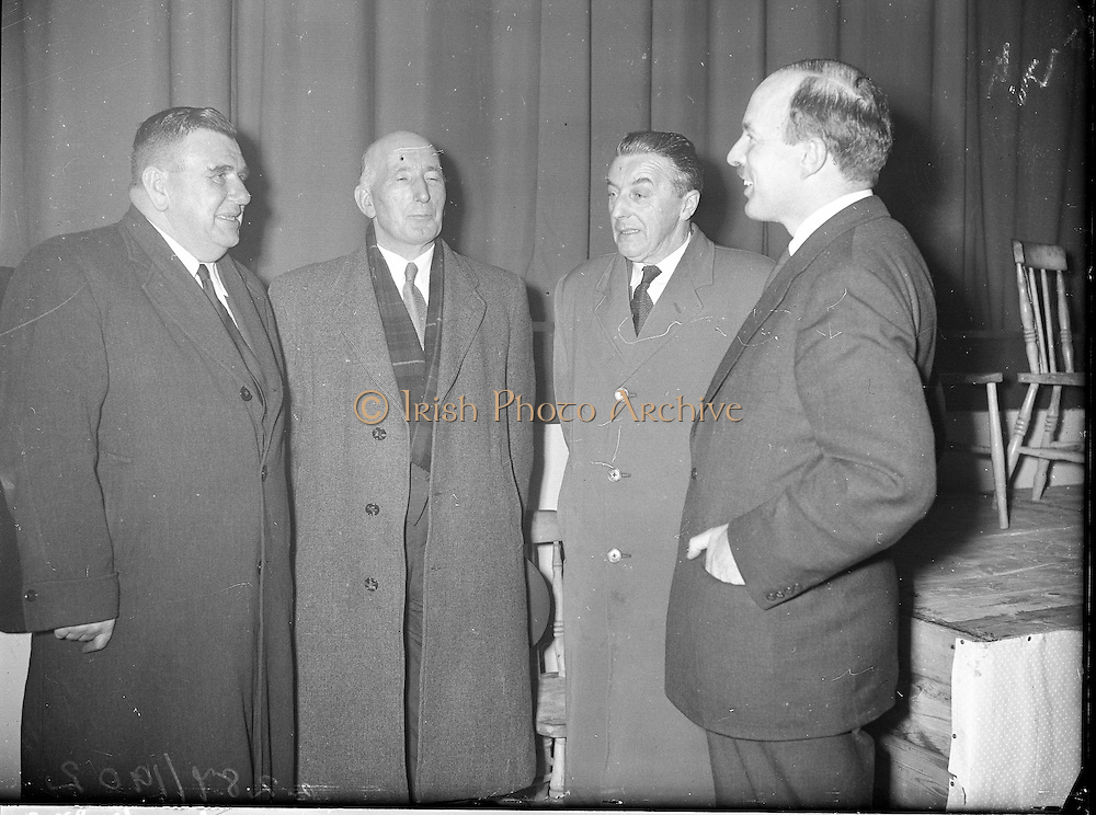 """Showing of Mise Eire at Gweedore, Co. Donegal..1960..27.01.1960..01.27.1960..27th January 1960...Pictured at the showing of the film """"Mise Eire"""" at Gweedore, Co Donegal were from left, Mr Padraig O'Domhnaill TD, Mr Gearoid o'partholain, Aire Na Gaeltachta, Mr Cormac O'Breasleain TD and mr Donal O'Morain,Cathaoirleach, Gael Linn. The film of """"Mise Eire"""" is a production of Gael Linn."""