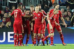 01.05.2013, Camp Nou, Barcelona, ESP, UEFA CL, FC Barcelona vs FC Bayern Muenchen, Halbfinale, Rueckspiel, im Bild Torjubel von links Jerome BOATENG #17 (FC Bayern Muenchen), Franck RIBERY #7 (FC Bayern Muenchen), Thomas MUELLER #25 (FC Bayern Muenchen), Arjen ROBBEN #10 (FC Bayern Muenchen), Anatoliy TYMOSHCHUK #44 (FC Bayern Muenchen) und Daniel VAN BUYTEN #5 (FC Bayern Muenchen), // during the UEFA Champions League 2nd Leg Semifinal Match between Barcelona FC and FC Bayern Munich at the Camp Nou, Barcelona, Spain on 2013/05/01. EXPA Pictures © 2013, PhotoCredit: EXPA/ Eibner/ Christian Kolbert..***** ATTENTION - OUT OF GER *****
