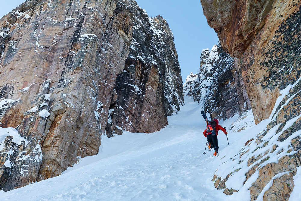 Taylor Sullivan boot packing Grand Daddy Couloir on Bow Peak in the Canadian Rockies, Alberta, Canada
