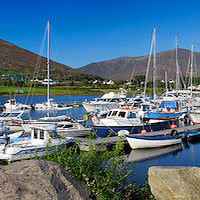 Cahersiveen Harbour blue sky Panorama with Old Barracks and view on Knock na d'Tobar / ch133